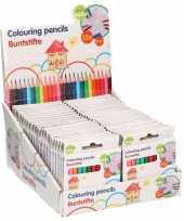 Vergelijk 25x pakjes kinder hb mini gekleurde potloden 12 stuks inhoud prijs