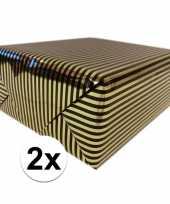 Vergelijk 2x cadeaupapier gemetaliseerd goud en zwart gestreept 150 cm per rol prijs