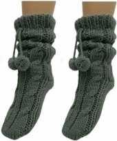 Vergelijk 2x dames sokken voor in huis antraciet grijs prijs