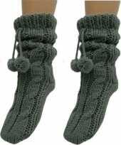 Vergelijk 2x dames sokken voor in huis donkergrijs prijs
