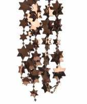 Vergelijk 2x donker bruine kerstboom sterren kralenketting 270 cm prijs