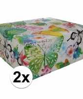 Vergelijk 2x gekleurd cadeaupapier met bloemen 70 x 200 cm type 8 prijs