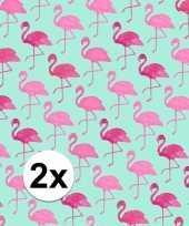 Vergelijk 2x gekleurd cadeaupapier met flamingos 70 x 200 cm type 2 prijs