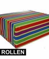 Vergelijk 2x gekleurd cadeaupapier met strepen 70 x 200 cm type 1 prijs