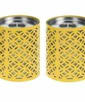 Vergelijk 2x gele kaarshouder met 6 citronella theelichtjes prijs