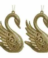 Vergelijk 2x gouden zwanen kerstornamenten kersthangers 10 cm prijs