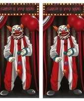 Vergelijk 2x horror clown deurposters 75 x 150 cm halloween decoratie prijs