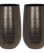 Vergelijk 2x mica ronde bloemenvazen decoratie vazen boeketvazen 21 x 35 cm bronzen keramiek prijs