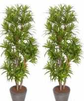Vergelijk 2x nep planten groene dracaena reflexa binnenplant kunstplanten 120 cm voor binnen prijs
