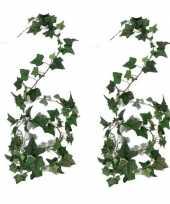 Vergelijk 2x nep planten groene hedera helix klimop kunstplanten 180 cm prijs