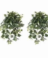 Vergelijk 2x nep planten groene hedera helix klimop weerbestendige kunstplanten 65 cm prijs 10162587
