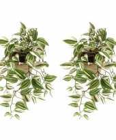 Vergelijk 2x nep planten groene tradescantia vaderplant kunstplanten 70 cm met hangpot prijs