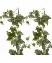 Vergelijk 2x nep planten groene witte hedera helix klimop hangplant kunstplanten 180 cm prijs