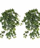 Vergelijk 2x nep planten groene witte hedera helix klimop weerbestendige kunstplanten 65 cm prijs