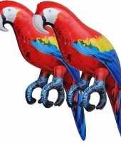 Vergelijk 2x opblaas ara papegaai vogel dieren 25 cm realistische print prijs