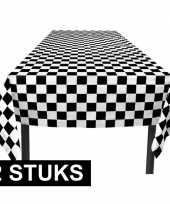 Vergelijk 2x party tafelkleden zwart wit geblokt 130 x 180 cm prijs