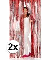 Vergelijk 2x rode folie deurgordijnen 2 x 1 meter prijs