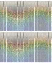 Vergelijk 2x sliertjesslingers holografische feest versiering franjeslinger 6 meter prijs