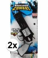 Vergelijk 2x stuks speelgoed pistolen combat politie 35 cm prijs