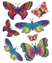Vergelijk 2x vellen kinder autoraam stickers gekleurde vlinders prijs