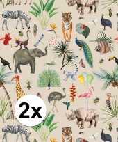 Vergelijk 2x verjaardag kadopapier taupe jungle 200 x 70 cm voor kinderen prijs