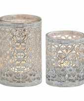 Vergelijk 2x waxinelichthouder zilver antiek 7 en 12 cm prijs