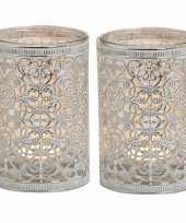 Vergelijk 2x waxinelichthouders zilver antiek 12 cm prijs
