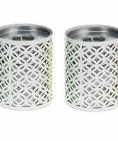 Vergelijk 2x witte kaarshouder met 6 citronella theelichtjes prijs