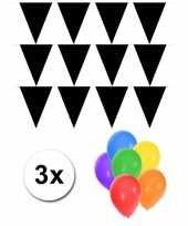 Vergelijk 3 zwarte vlaggenlijnen groot incl ballonnen prijs