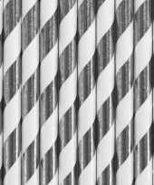Vergelijk 30x zilver met witte feest rietjes van papier prijs