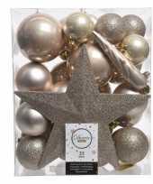 Vergelijk 33x kunststof kerstballen mix champagne 5 6 8 cm kerstboom versiering decoratie prijs
