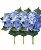 Vergelijk 3x blauwe hortensia kunstbloemen met steel 48 cm prijs