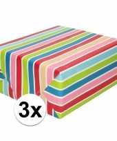 Vergelijk 3x cadeaupapier gekleurde streepjes 200 cm per rol prijs