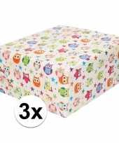 Vergelijk 3x cadeaupapier wit met gekleurde uiltjes 200 cm prijs