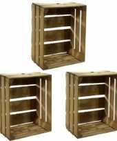 Vergelijk 3x houten fruitkistje 30 x 50 x 40 cm prijs