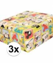 Vergelijk 3x mickey mouse geschenkpapier geel prijs