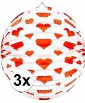Vergelijk 3x papieren ronde lampionnen met harten print prijs