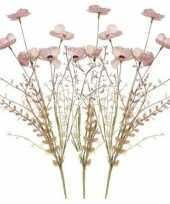Vergelijk 3x roze papaver klaproosjes kunstbloemen takken 53 cm decoratie prijs