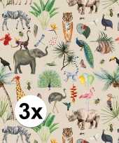 Vergelijk 3x verjaardag kadopapier taupe jungle 200 x 70 cm voor kinderen prijs