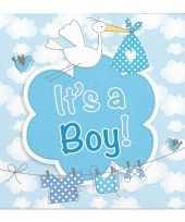 Vergelijk 40x babyshower servetten blauw 25 x 25 cm geboortefeestje prijs