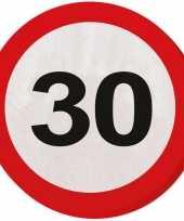 Vergelijk 40x dertig 30 jaar feest servetten verkeersbord 33 cm rond verjaardag jubileum prijs