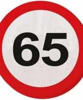 Vergelijk 40x vijfenzestig 65 jaar feest servetten verkeersbord 33 cm rond verjaardag jubileum prijs