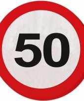 Vergelijk 40x vijftig 50 jaar feest servetten verkeersbord 33 cm rond verjaardag jubileum prijs