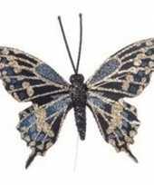 Vergelijk 4x decoratie vlindertje blauw 6 cm gouden details prijs
