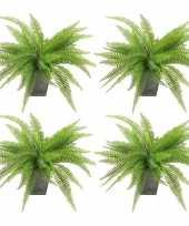 Vergelijk 4x groene varen kunstplant 33 cm in zinken pot prijs