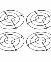 Vergelijk 4x pannenonderzetters chroom 17 cm prijs