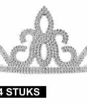 Vergelijk 4x prinsessen tiara zilver plastic voor dames prijs