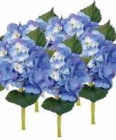 Vergelijk 5x blauwe hortensia kunstbloemen met steel 48 cm prijs