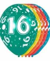Vergelijk 5x gekleurde 16 jaar ballonnen 30 cm prijs