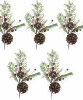 Vergelijk 5x kerststukje instekertjes 28 cm prijs